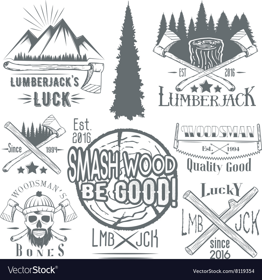 Set of lumberjack and woodsman vector