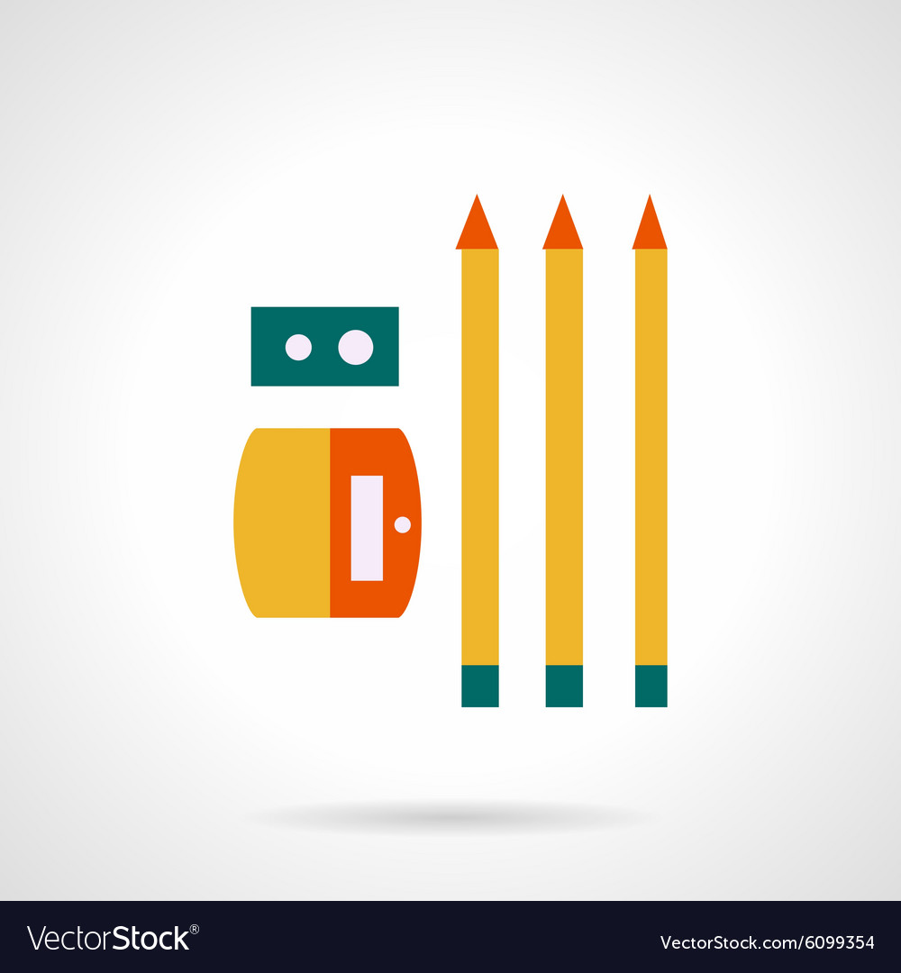 Sharpener with pencils flat color icon vector