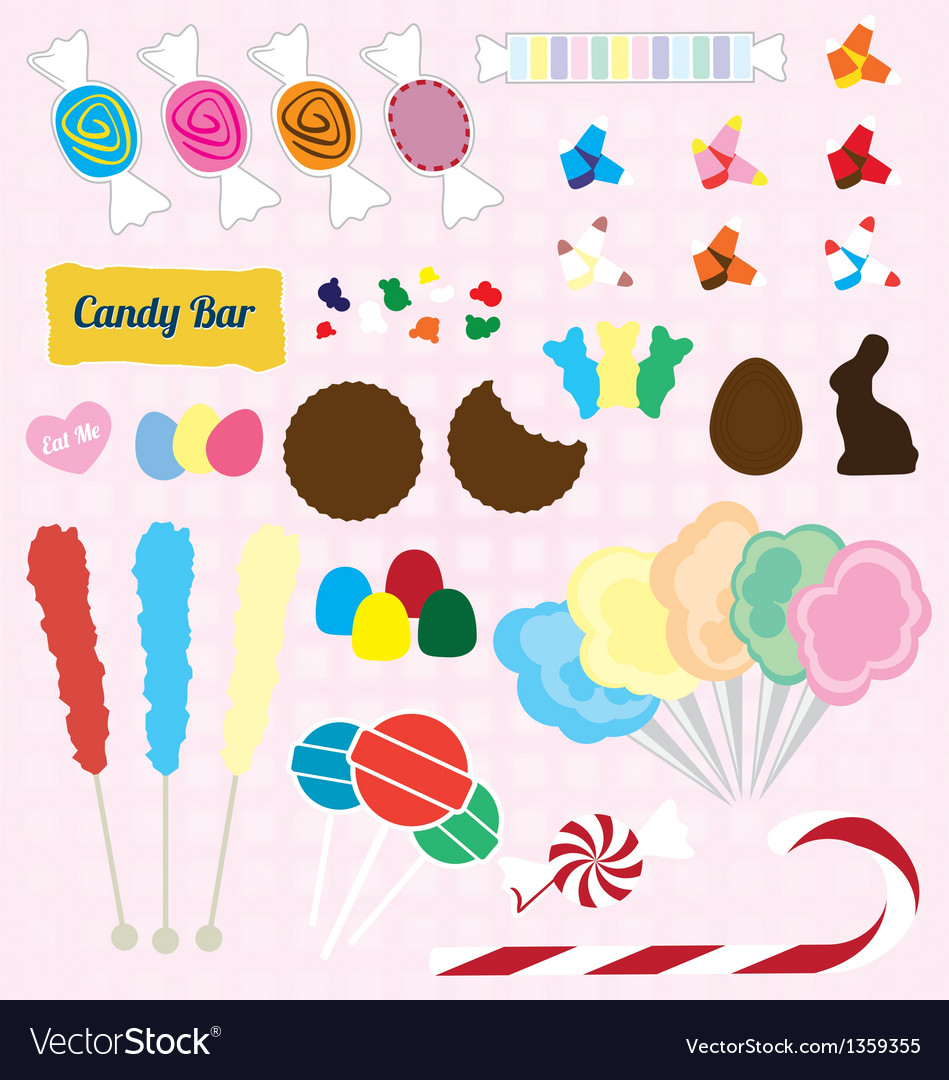 Candy pieces collection vector
