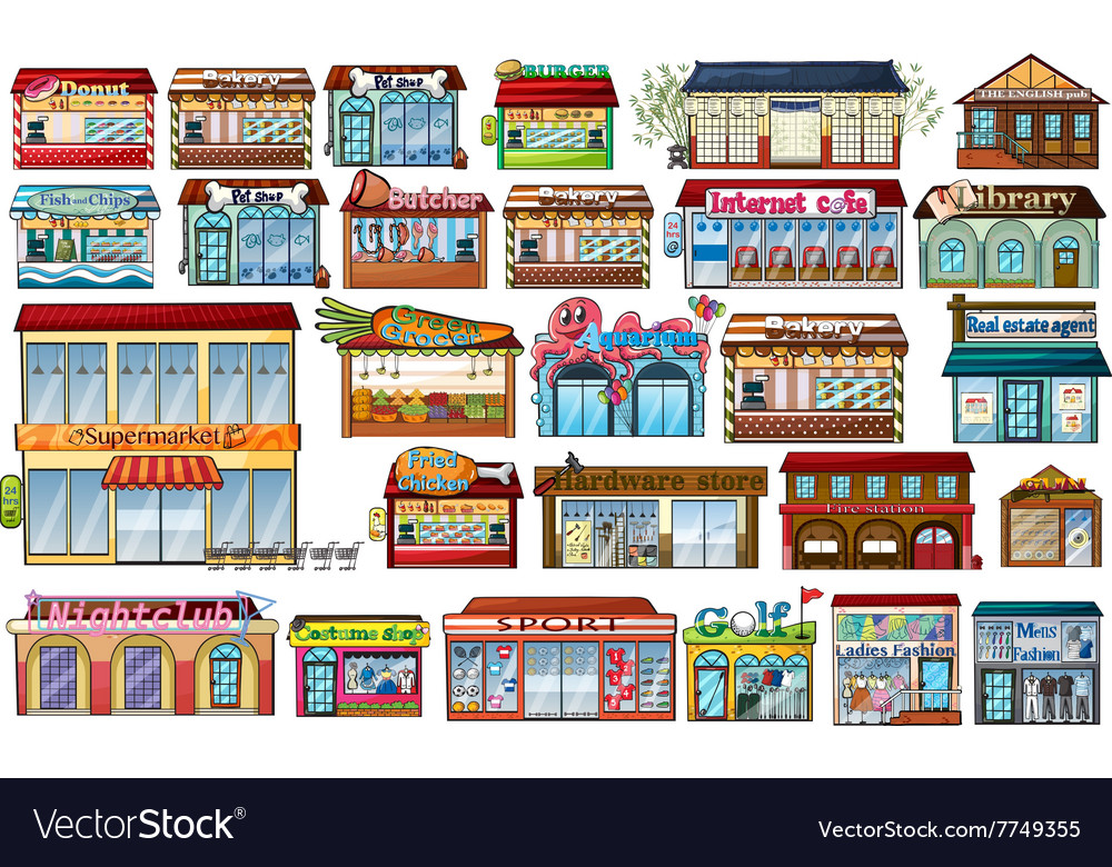 Different shops and buildings vector