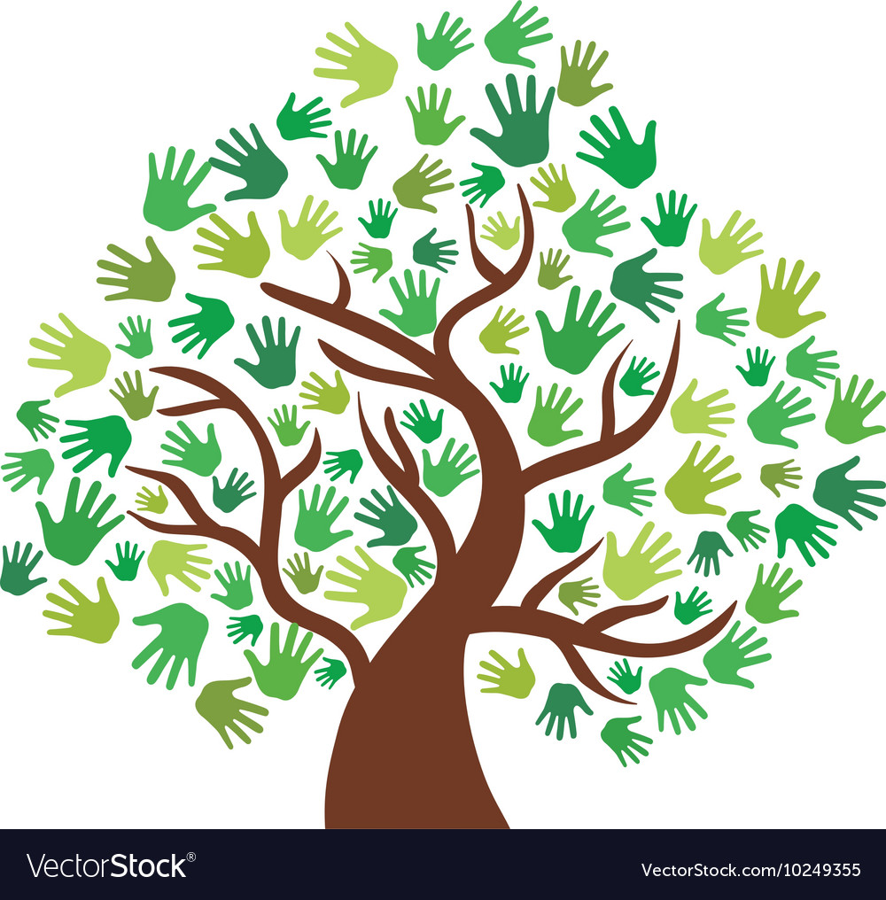 Human hand tree gesture shape icon graphic vector