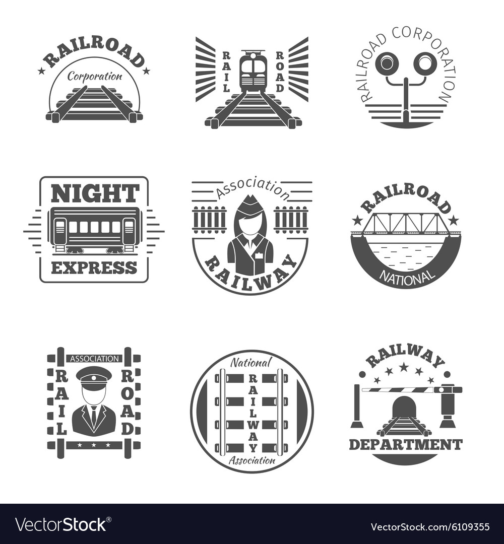 Set of railway emblem railroad labels or vector
