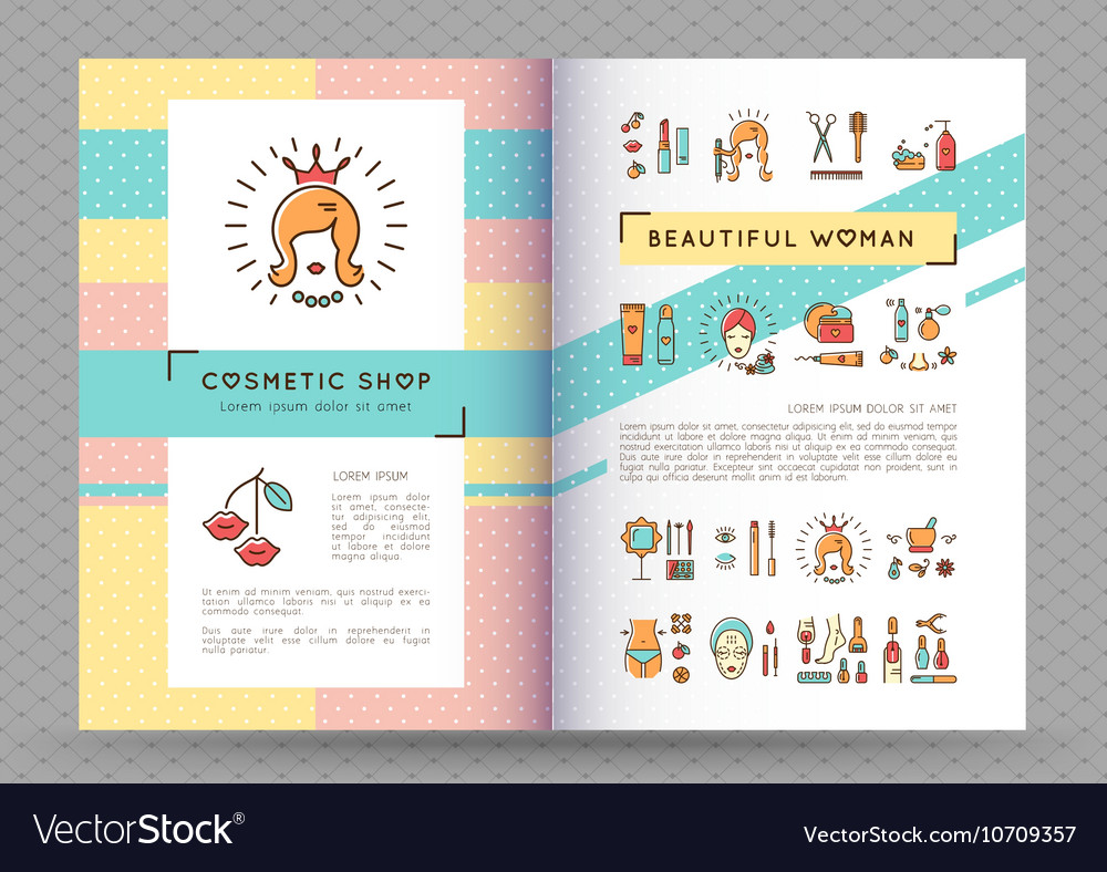 Beauty banner cosmetic brochure catalog beautiful vector