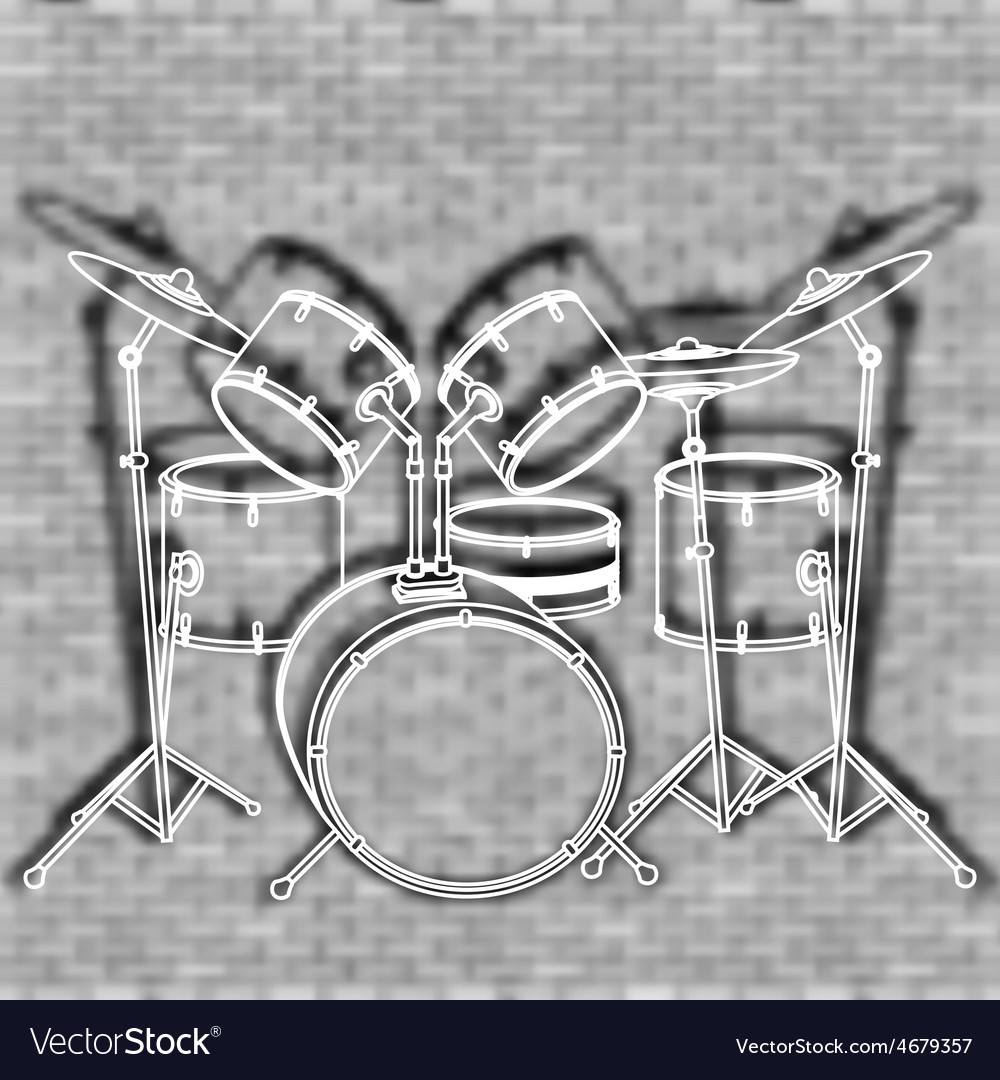 Drum set against the backdrop of a brick wall vector