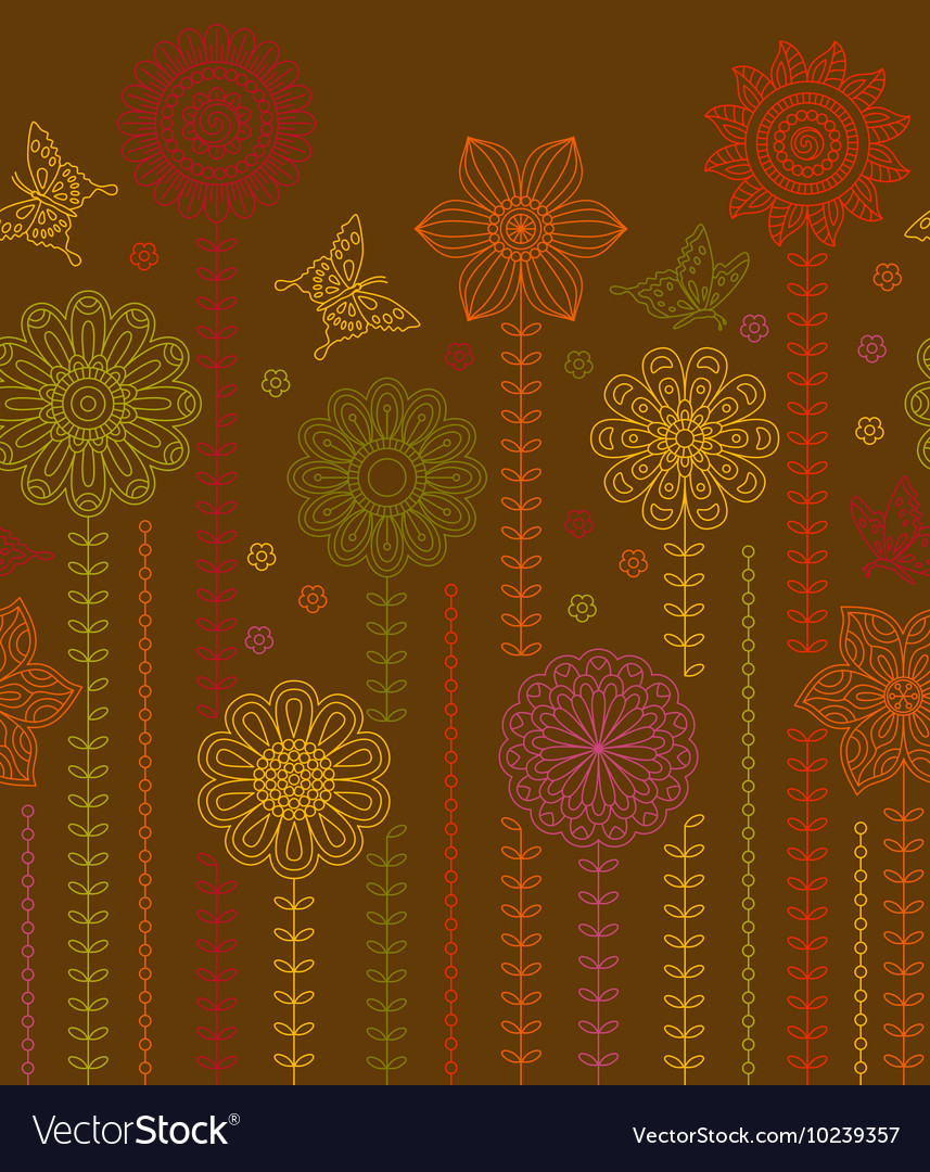 Floral border background made of many flowers vector
