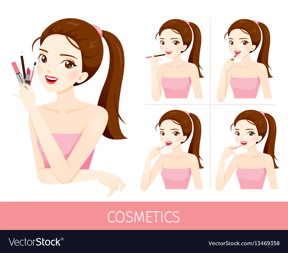 Woman with step to apply lip makeup vector
