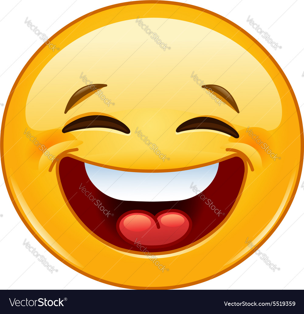 Laughing with closed eyes emoticon vector