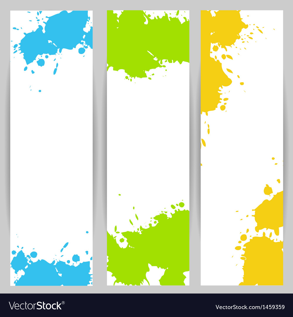 Vertical banners with paint splash vector