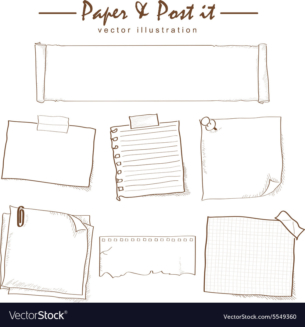 Paper and postit collection sketch drawing vector