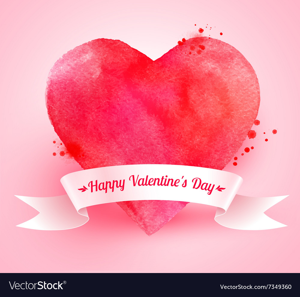 Valentine heart with ribbon banner vector