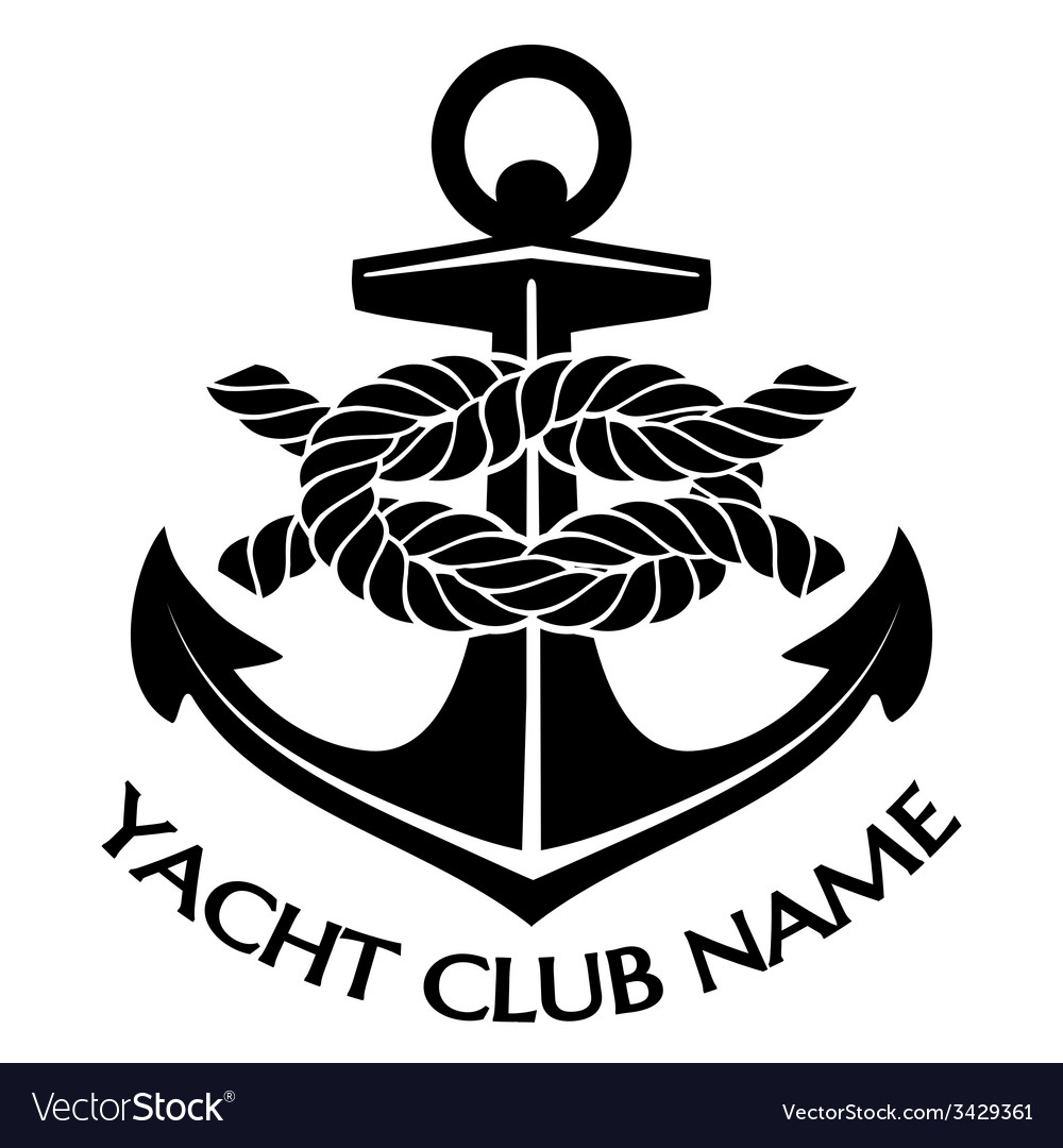 Black and white yacht club logo vector