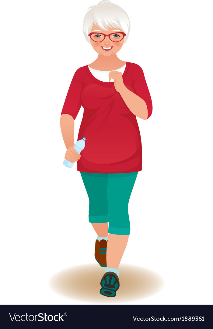Elderly woman runner vector