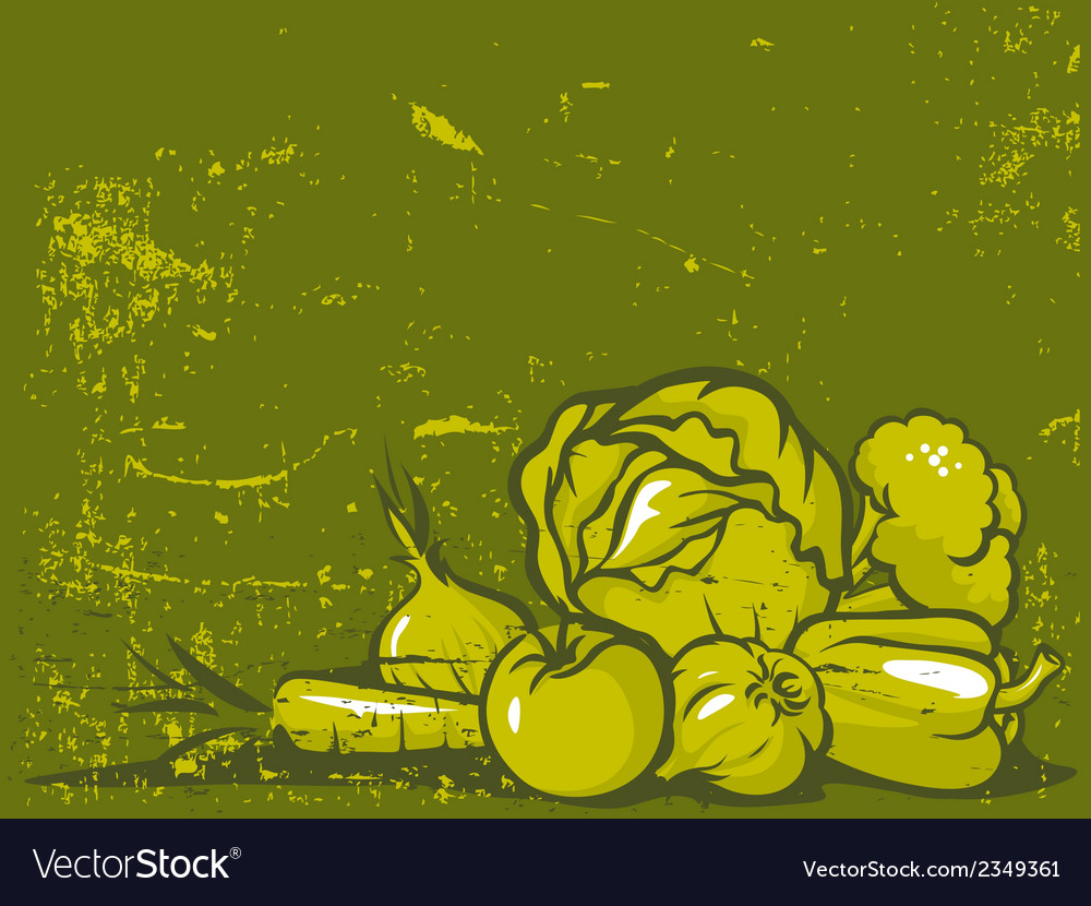 Green vegetable vintage background vector