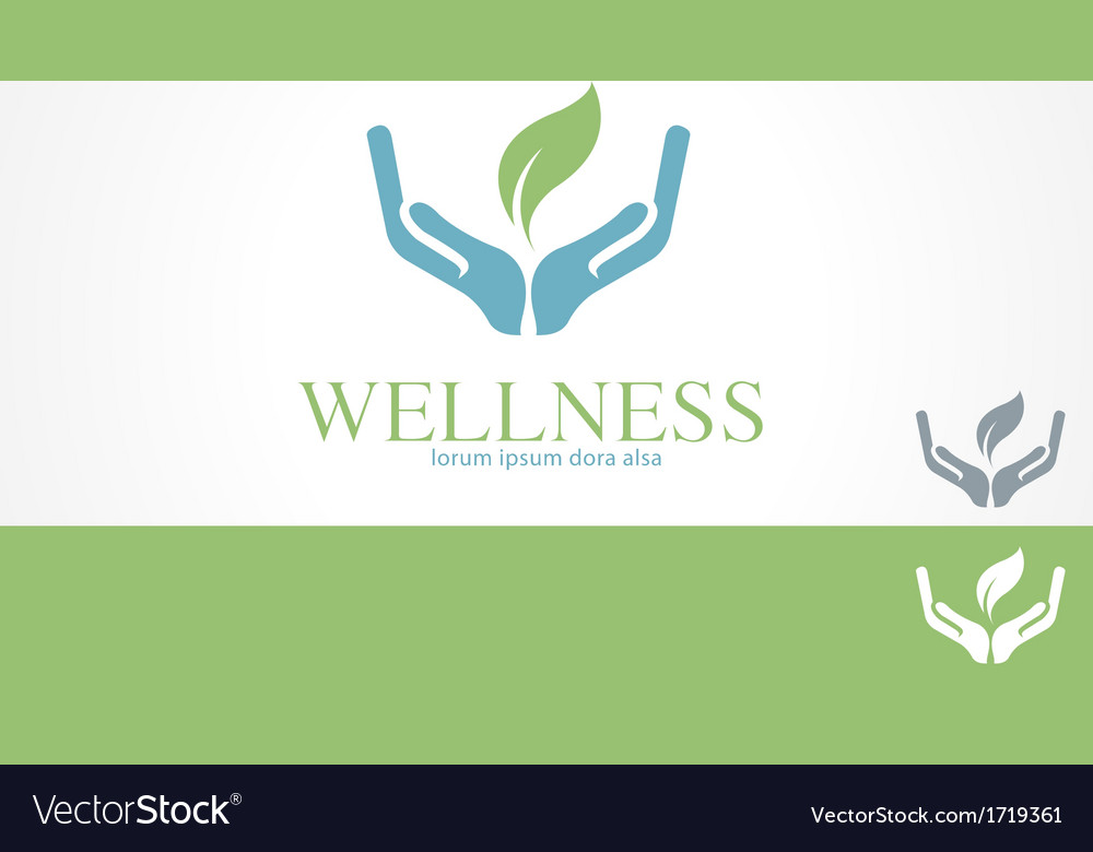 Hands leaf green wellness health logo template vector