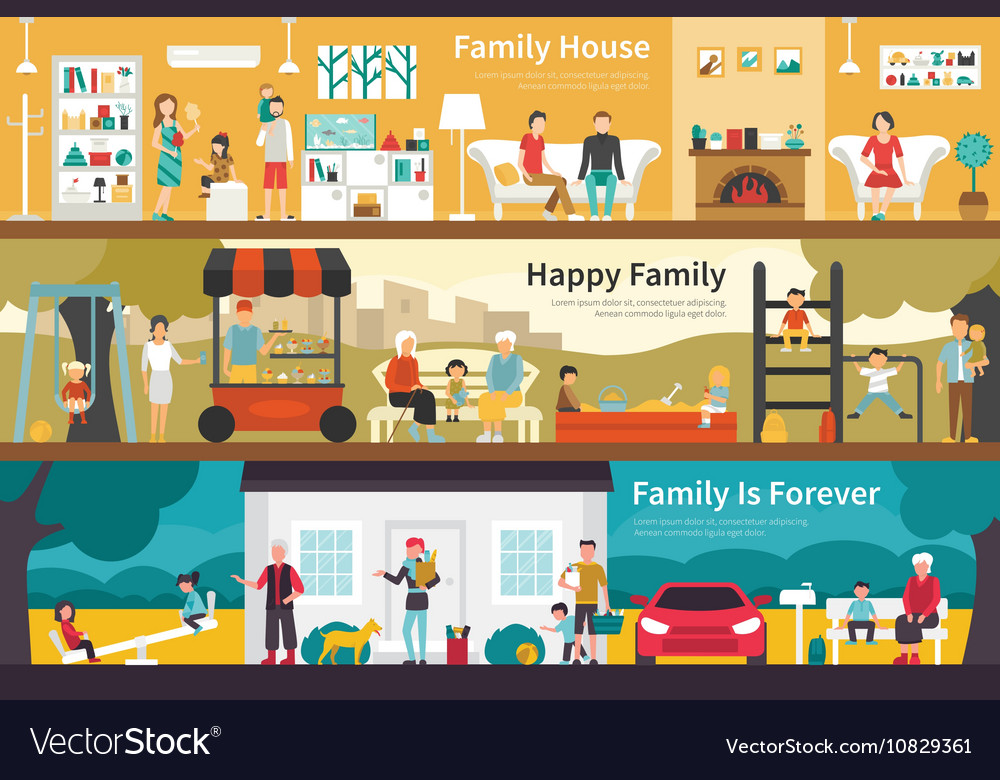 House happy family is forever flat interior vector
