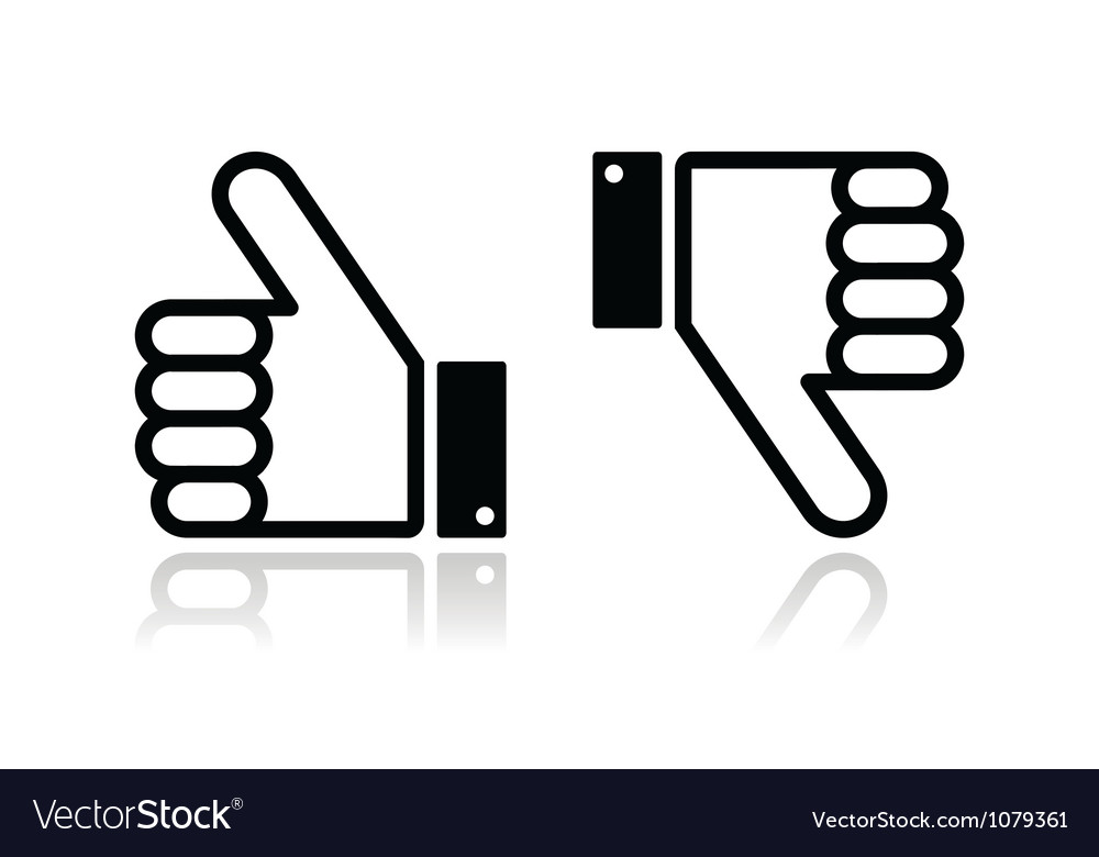 Thumb up and down black icon  social media vector
