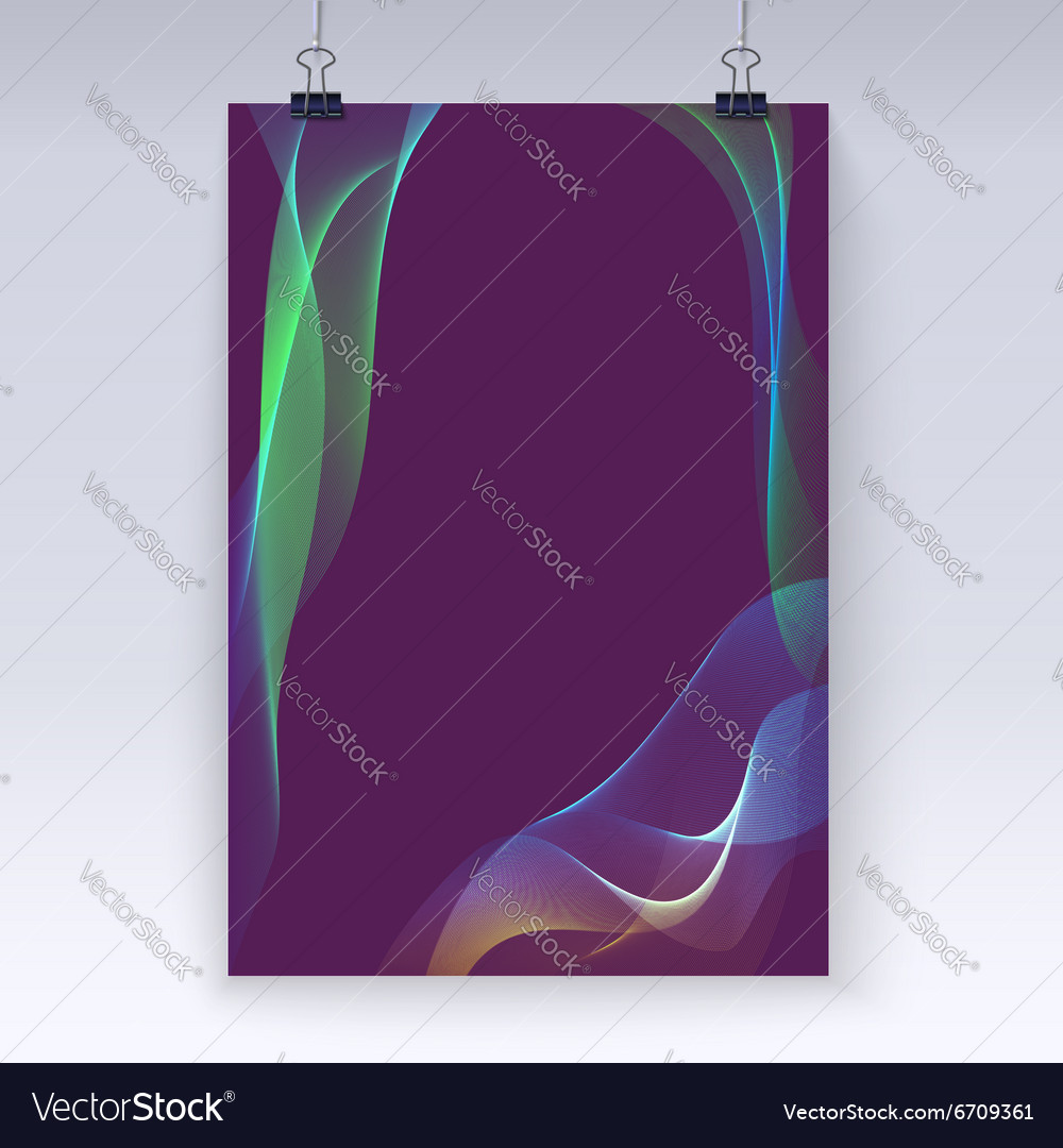 Wavy flowing poster template vector