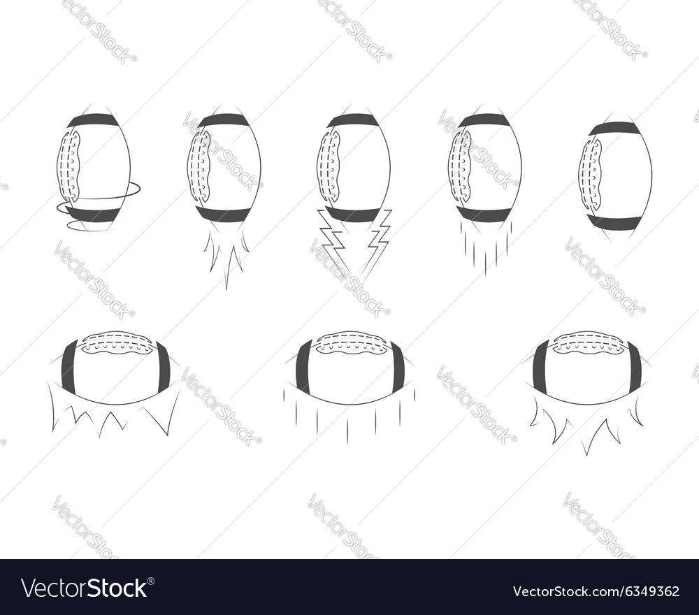 American football ball monochrome collection vector