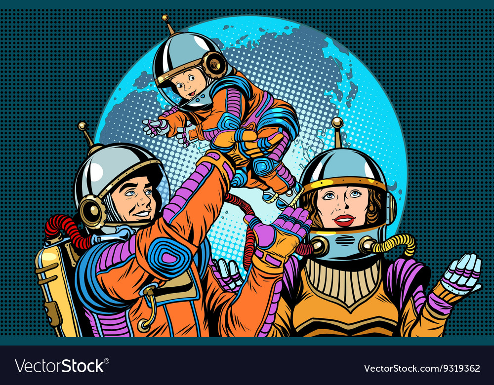 Retro astronauts family dad mom and child vector