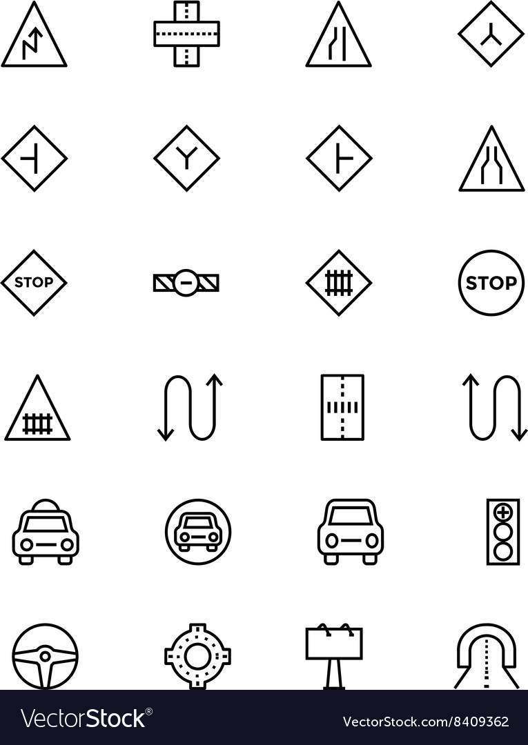 Road outline icons 3 vector