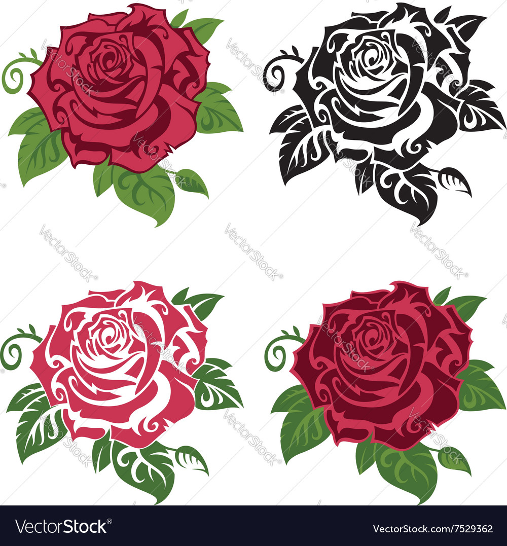 Set of multicolored roses vector