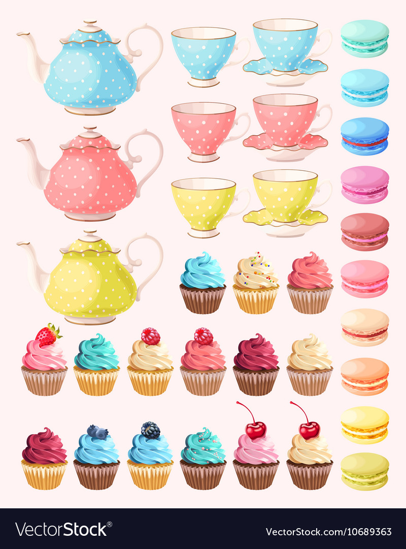 Tea party set vector