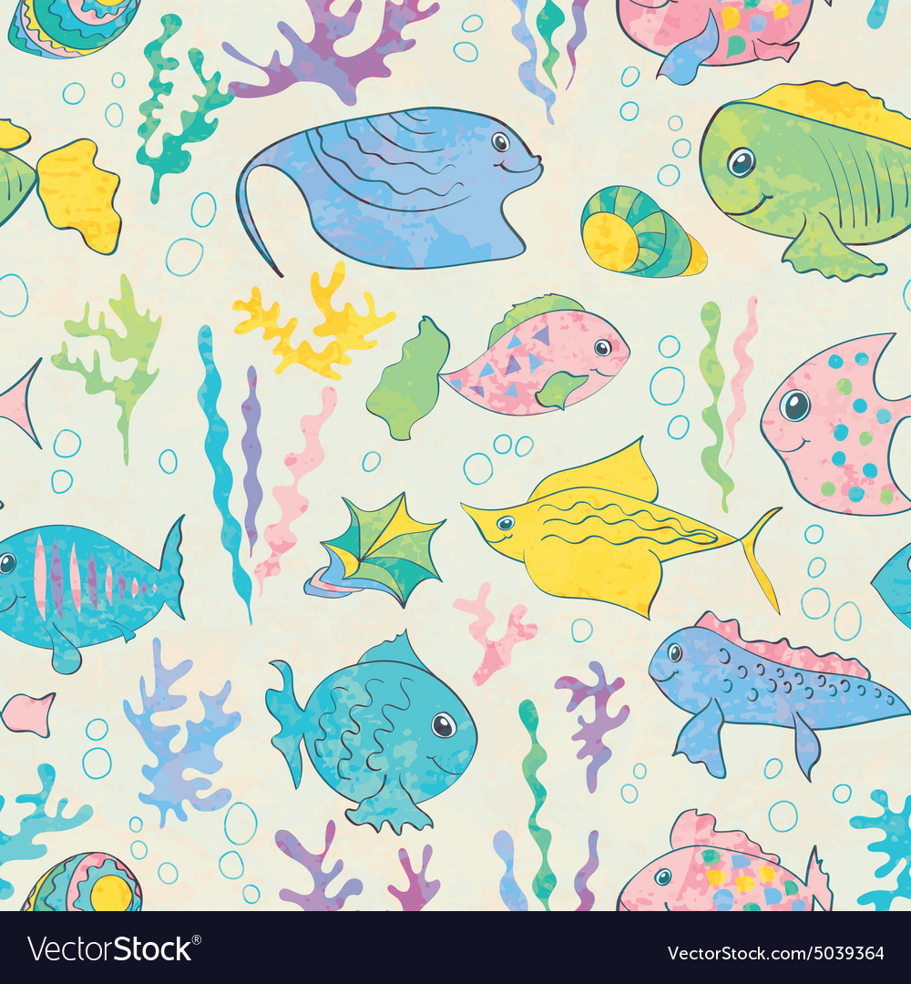 Cartoon sea fish vector