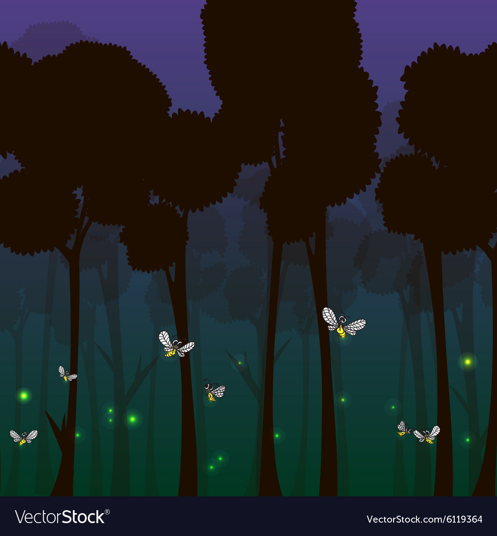 Fireflies in the forest at night vector