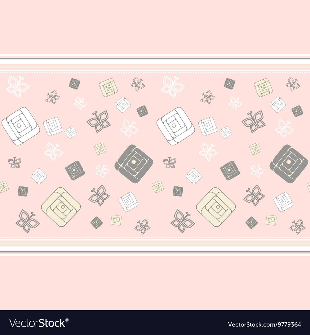 Geometric roses seamless pattern vector