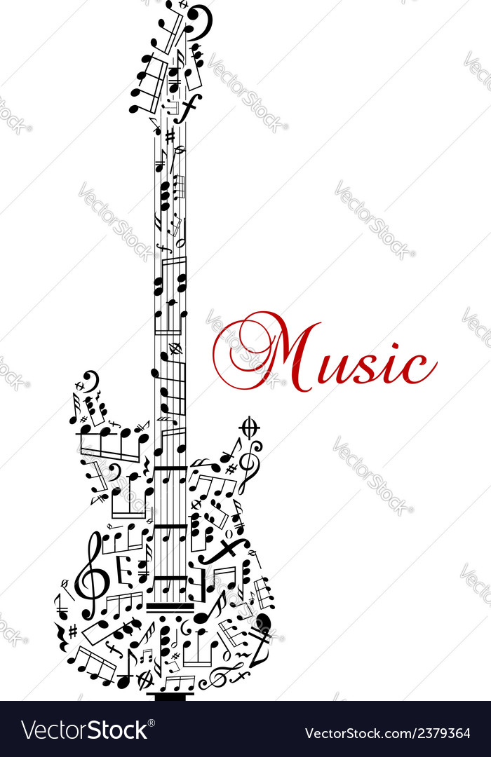 Guitar silhouette with musical notes vector