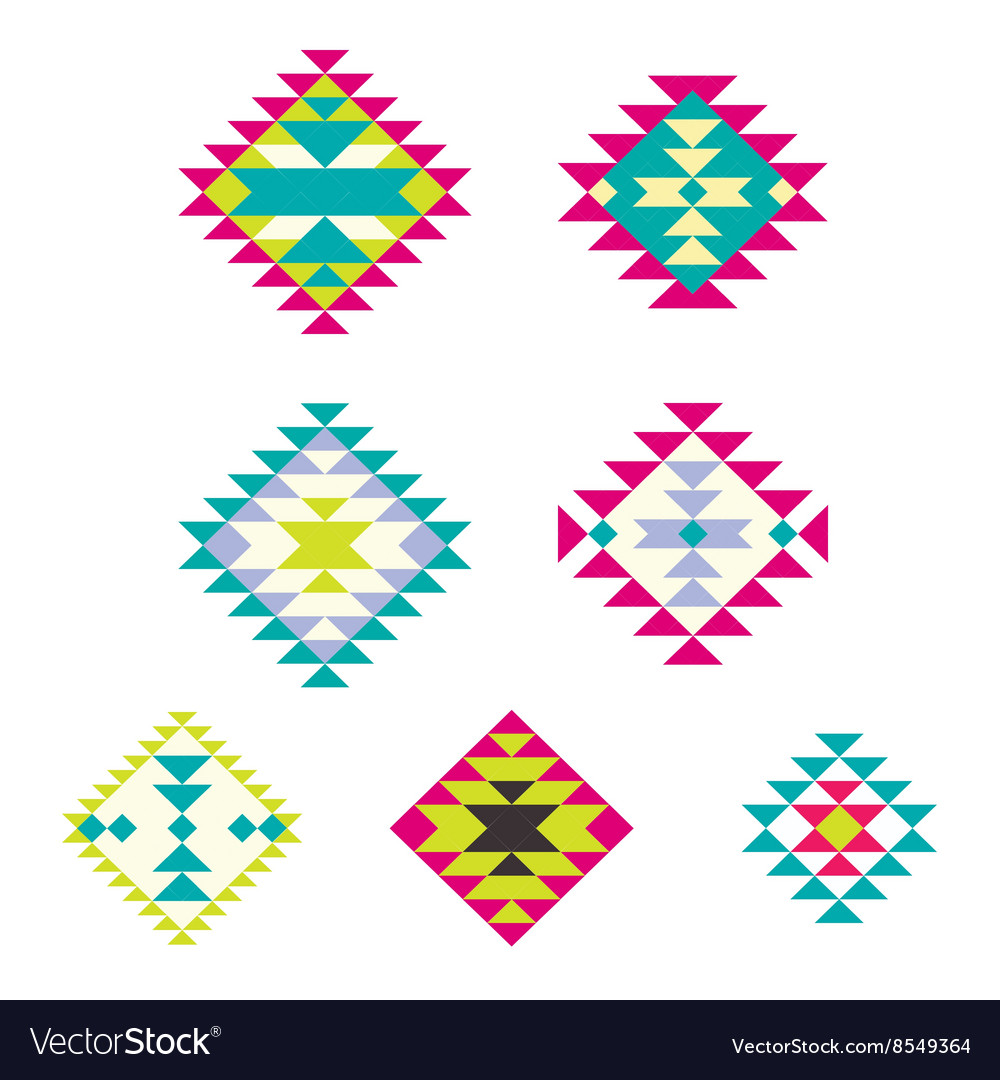 Set decorative ethnic with american indian vector