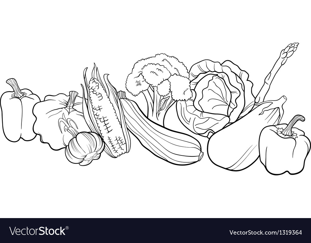 Vegetables group for coloring book vector