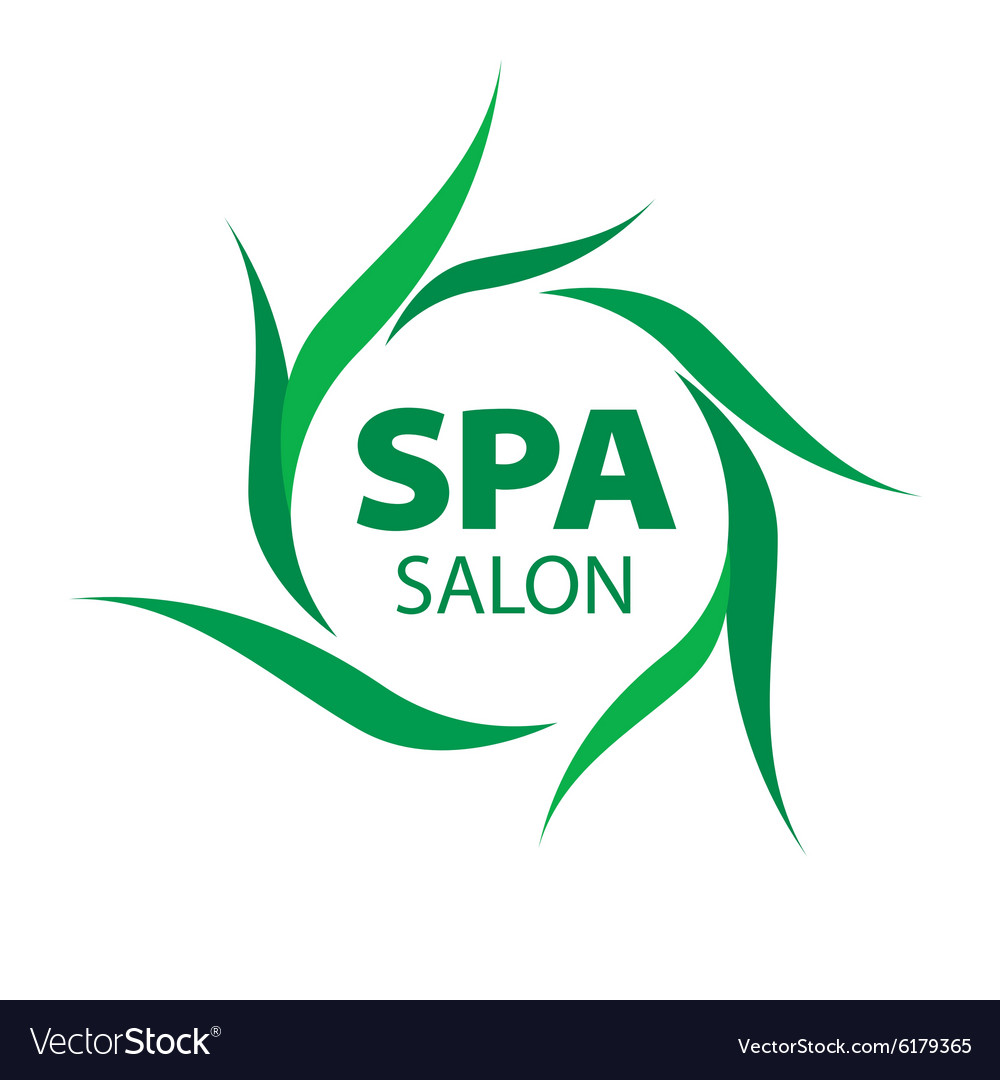 Logo with green leaves for spa salon vector