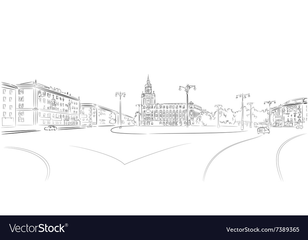 Town square and historic building vector