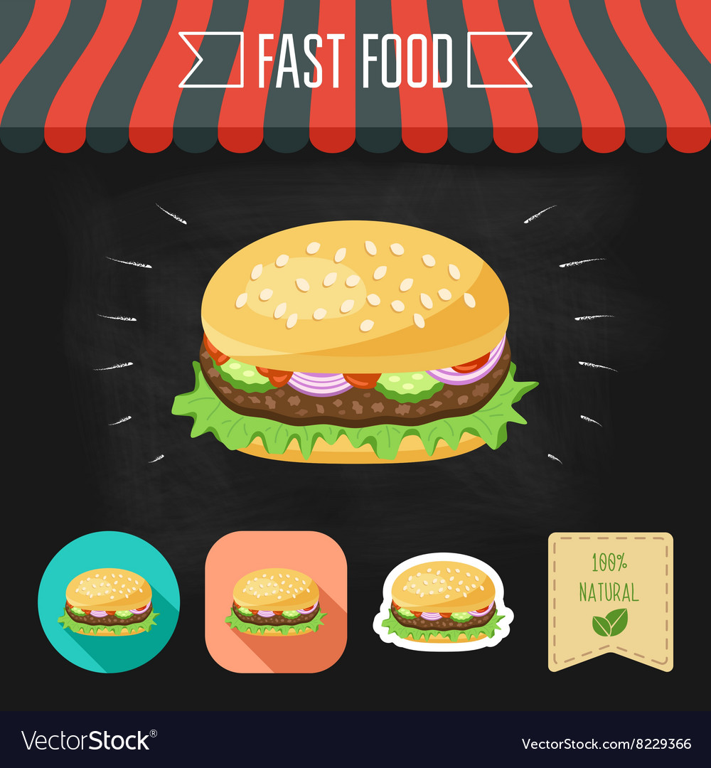 Hamburger icon on a chalkboard set of icons and vector