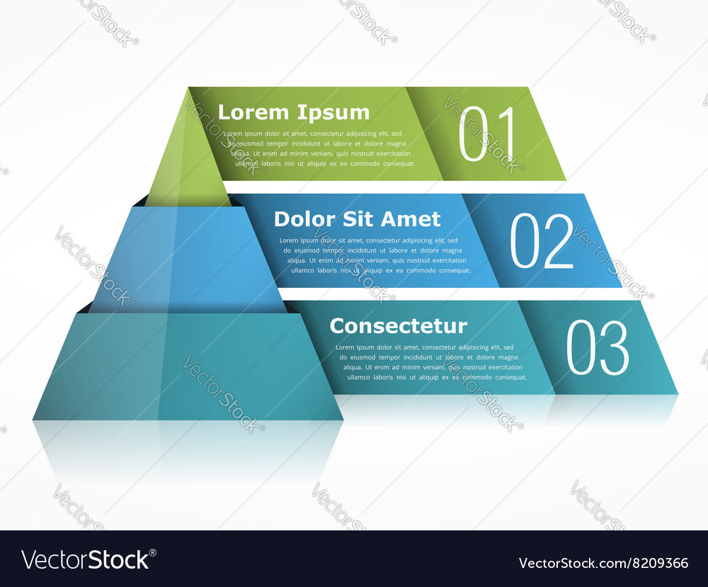 Pyramid chart three elements vector