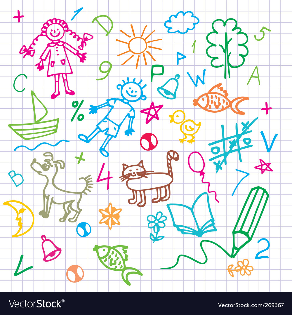 Doodle background vector