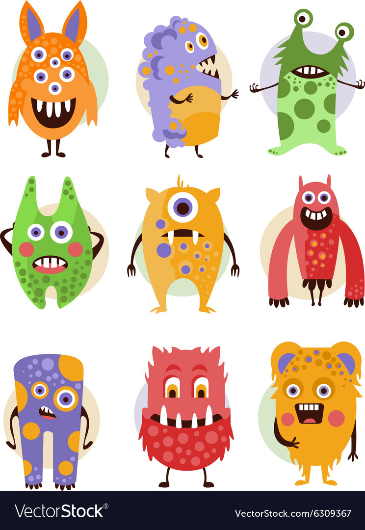 Funny emotional cartoon monsters vector