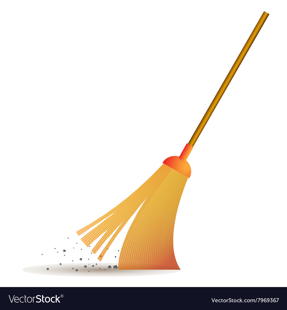 Sweeping broom icon vector