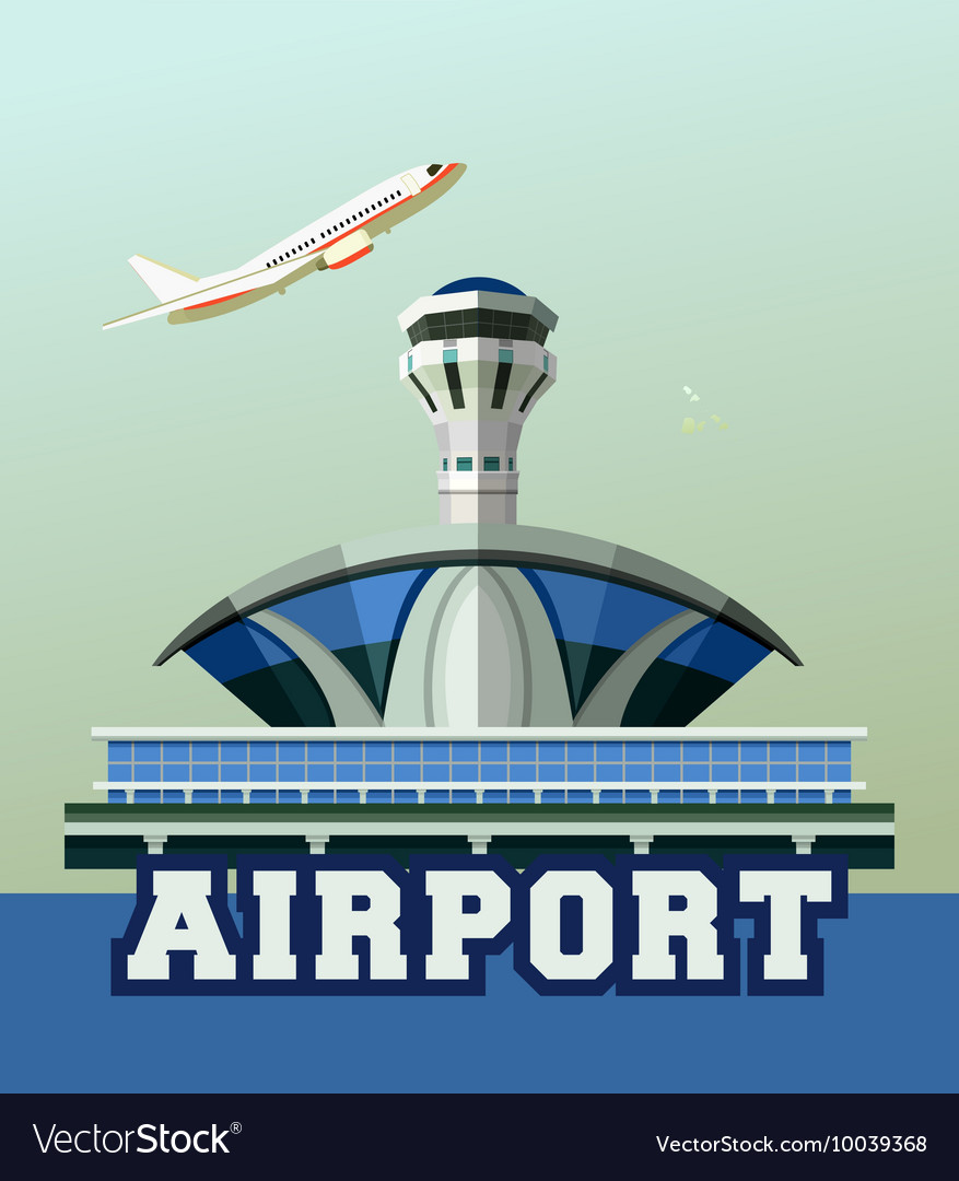 Airport building poster vector
