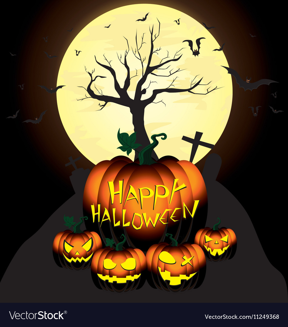 Happy halloween pumpkin and bats in moon night on vector