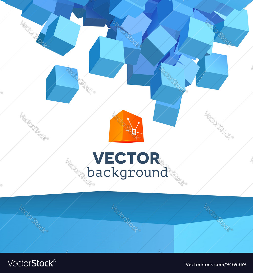 3d explosion background with cubical vector