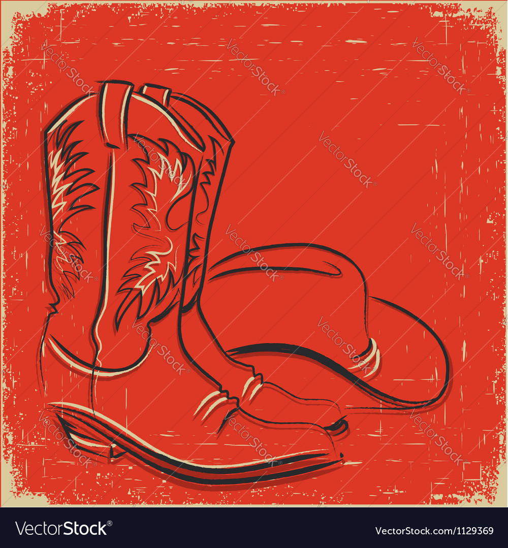 Cowboy boots and western hat sketch on red vector