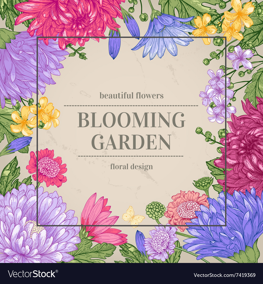 Floral vintage summer background garden vector