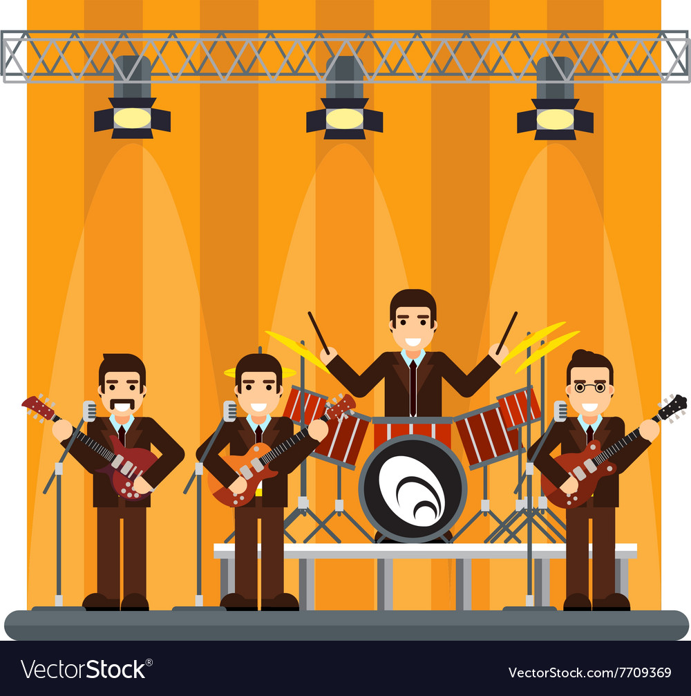 Music band on stage performance show vector