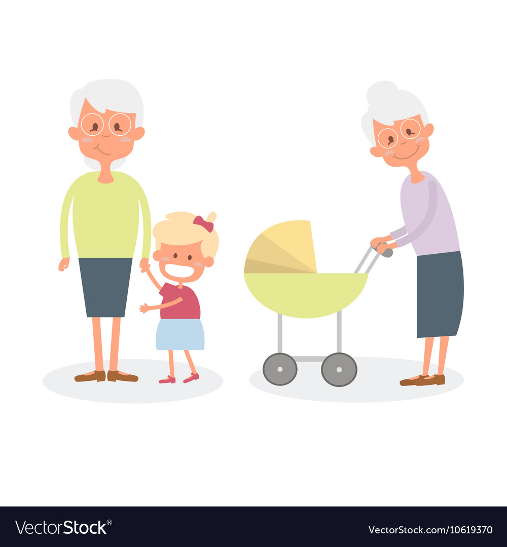 Happy grandmother with grandchildren cute senior vector