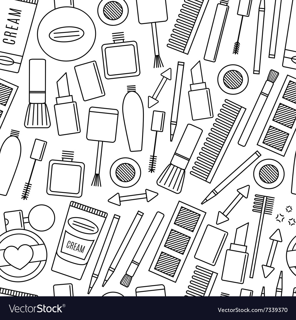 Make up and cosmetics seamless pattern vector