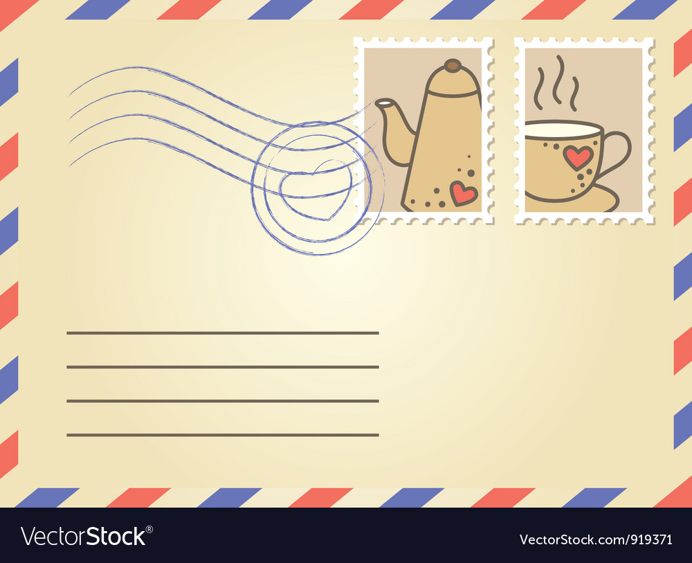 Envelope with postage stamps vector