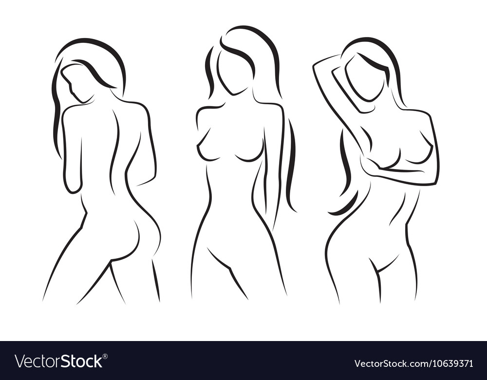 Nude woman silhouette beautiful girl vector