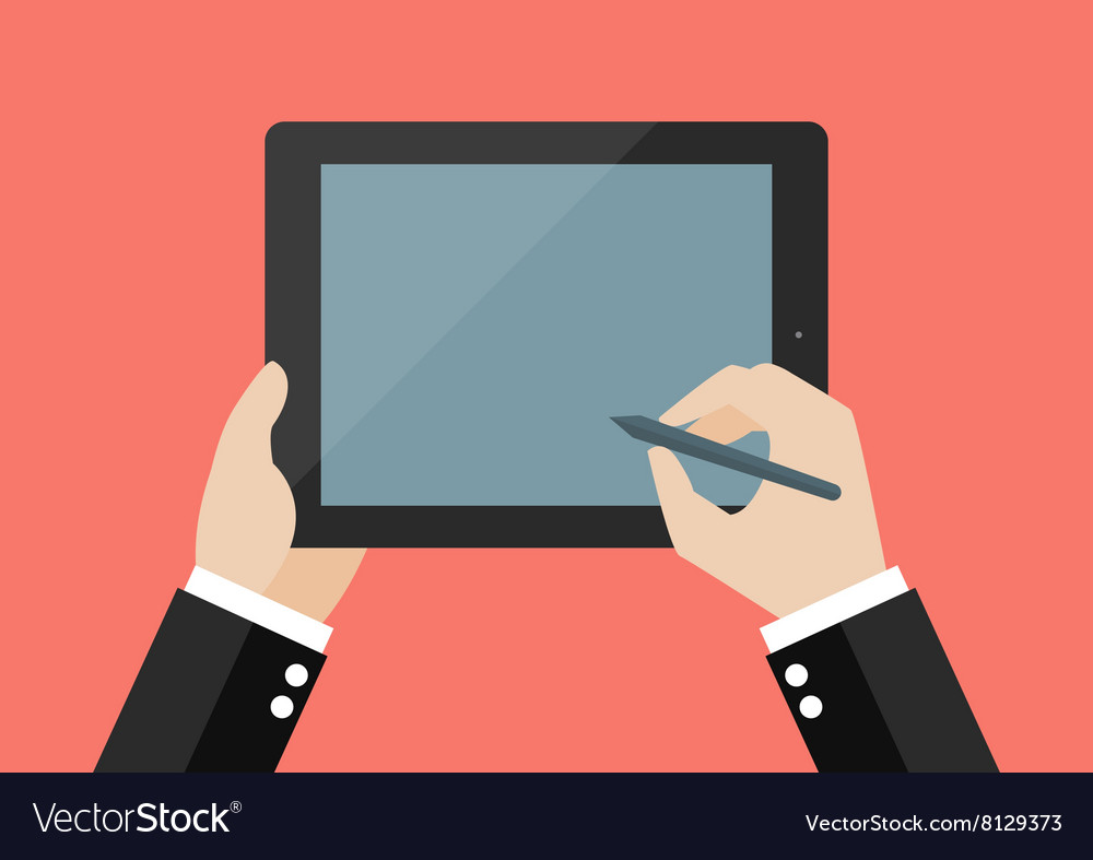 Hand writing on blank screen of tablet vector
